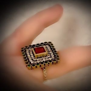 Size 8.5 RUBY EMERALD RING Solid 925 Silver/Gold